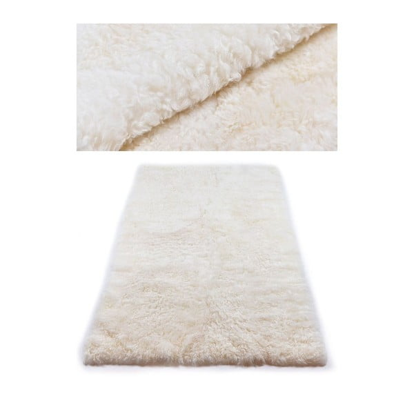 Bílý kožešinový koberec s krátkým chlupem, 165x100cm