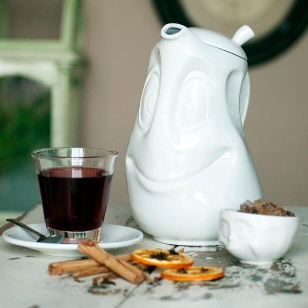 Ceainic din porțelan, zâmbet, 58products, alb