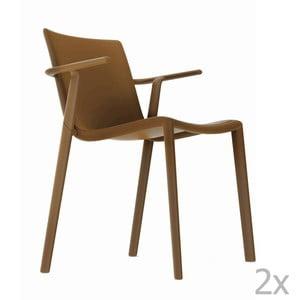 Sada 2 hnědých zahradních židlí s područkami Resol Kat