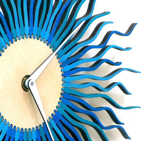 Dřevěné hodiny Radium modré, 29 cm