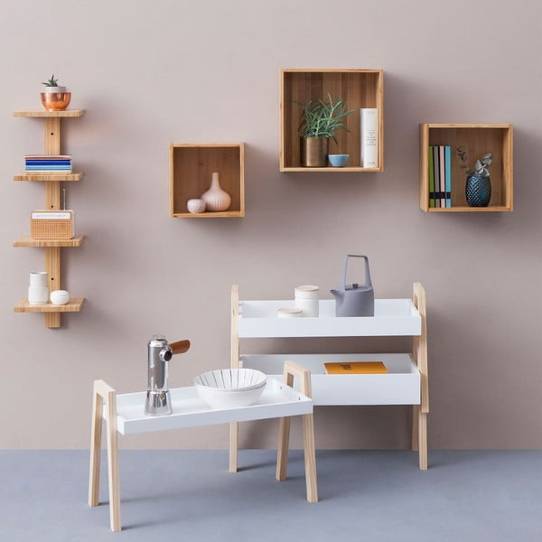 Raft de perete din lemn de bambus Furniteam Design, 25 x 25 cm