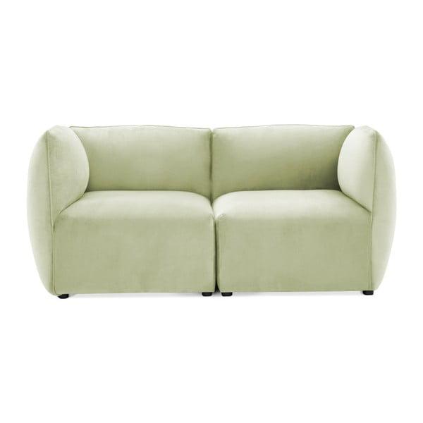 Canapea modulară cu 2 locuri Vivonita Velvet Cube, verde deschis