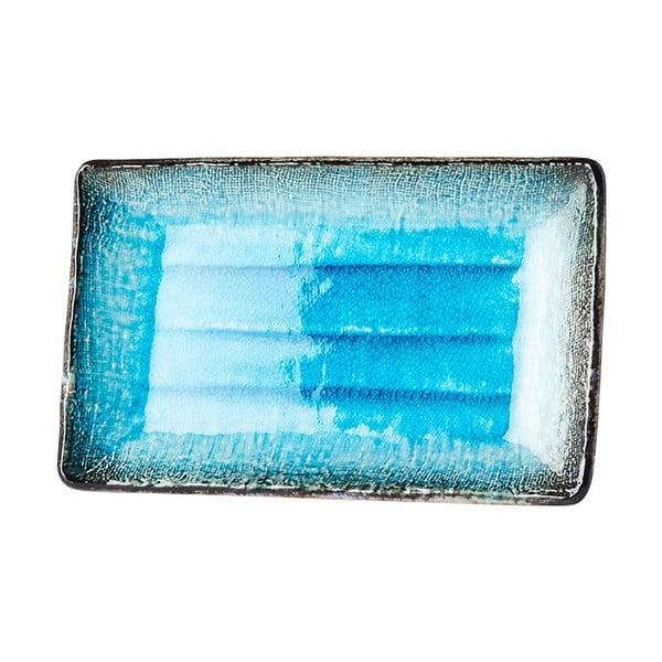 Sky kék kerámia szervírozó tányér, 21 x 13,5 cm - MIJ