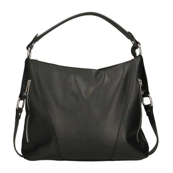 Černá kožená kabelka Chicca Borse Targo