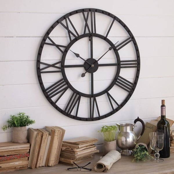 Nástěnné hodiny Orchidea Milano Industrial Rusty Black, 70 cm