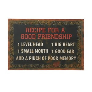 Cedule Recipe for a good friendship, 36x24 cm