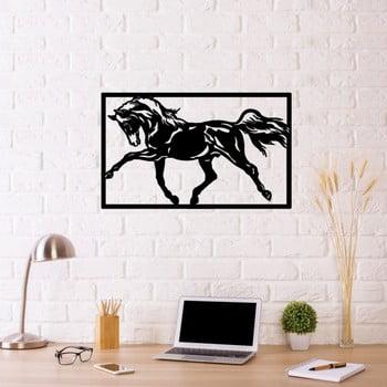 Decorațiune metalică de perete Horse Two, 70 x 50 cm, negru imagine