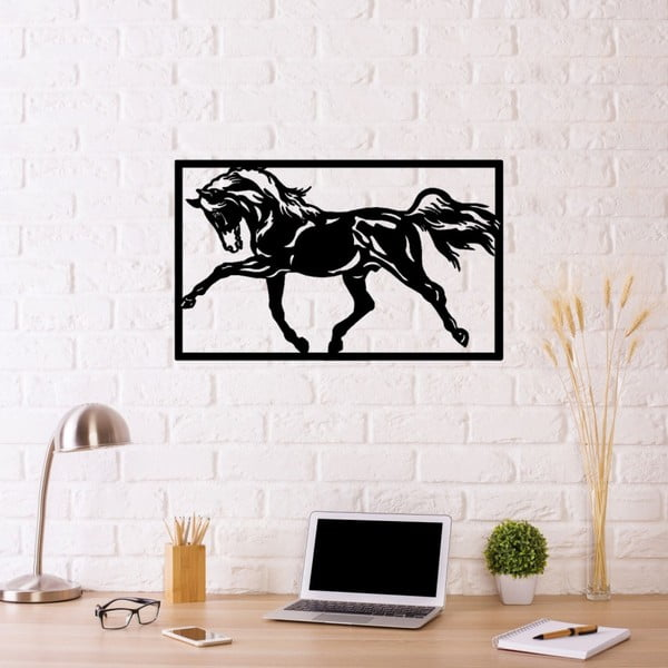 Decorațiune metalică de perete Horse Two, 70 x 50 cm, negru