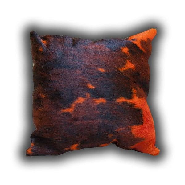 Polštář z pravé kůže Orange Cow, 45x45 cm