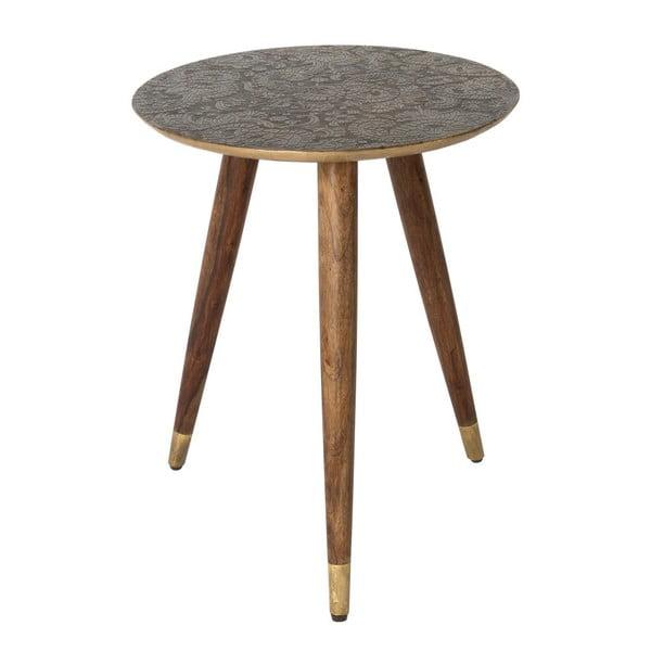 Mosadzný odkladací stolík Dutchbone Bast, ⌀ 40 cm