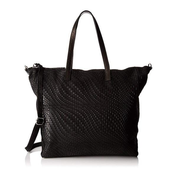 Černá kožená kabelka Chicca Borse Pullo
