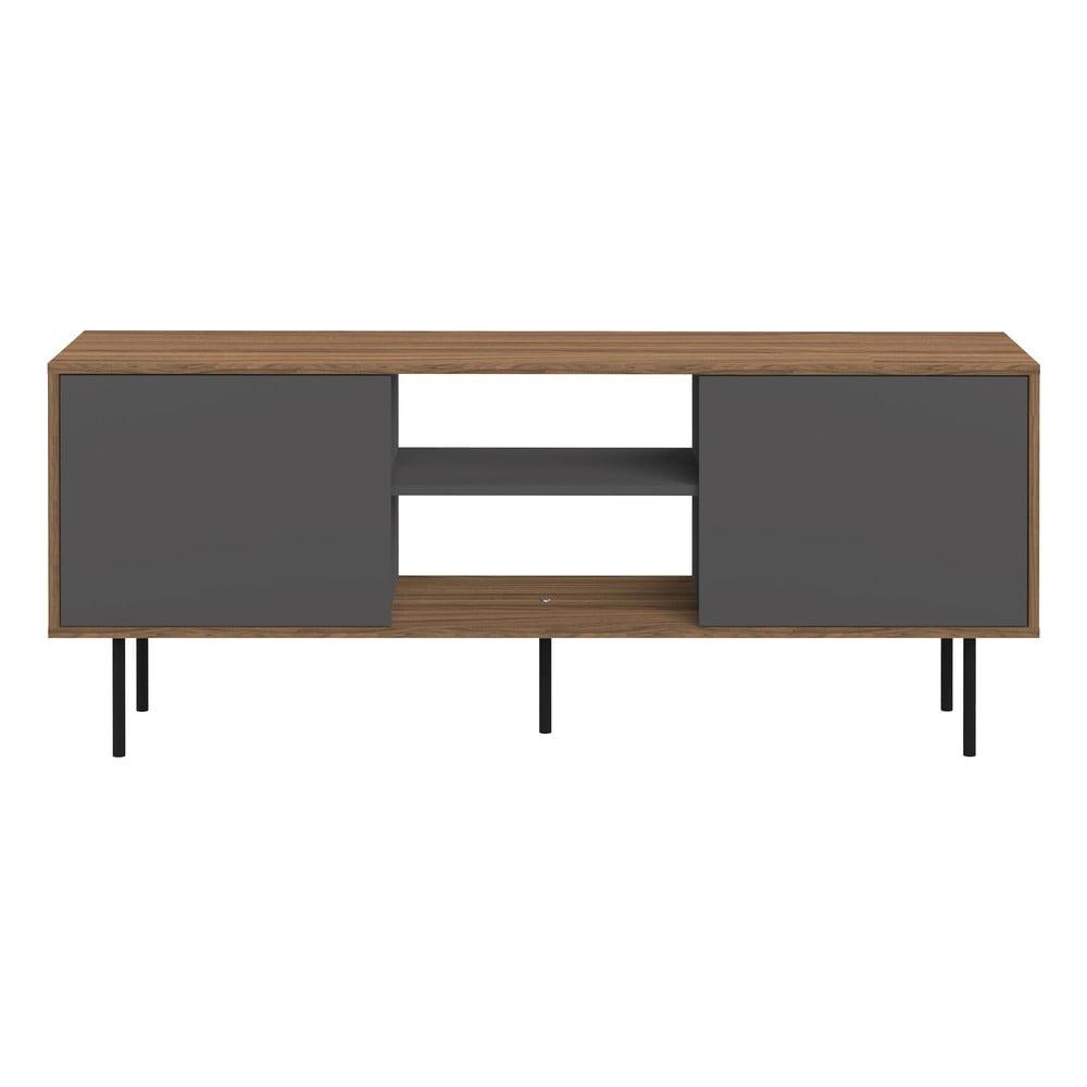 Televizní stolek v dekoru ořechového dřeva s šedými dvířky TemaHome Attitude