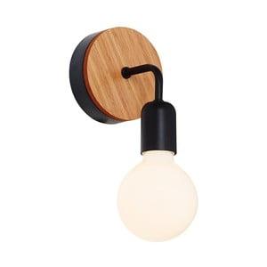 Černé nástěnné svítidlo s dřevěným detailem  Valetta