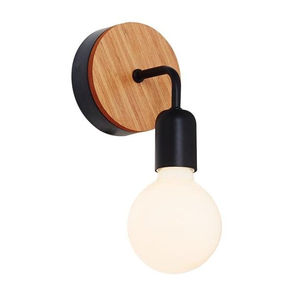 Černé nástěnné svítidlo s dřevěným detailem Homemania Valetta
