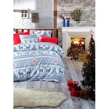 Lenjerie cu cearceaf pentru pat de o persoană, din bumbac ranforsat Nazenin Home Forest Blue, 140 x 200 cm de la Nazenin Home