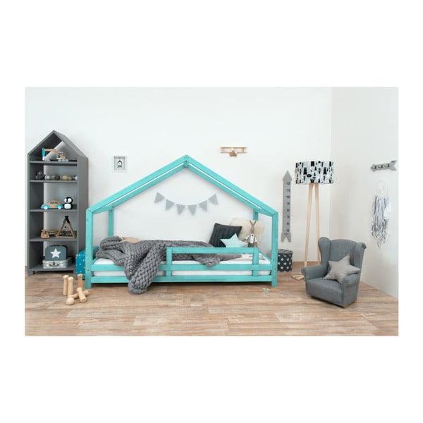 Tyrkysová dětská postel z lakovaného smrkového dřeva Benlemi Sidy, 90 x 190 cm