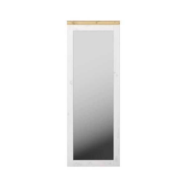 Bílé nástěnné zrcadlo z borovicového dřeva Steens Monaco, 52x144cm