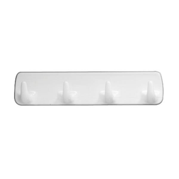 Cuier de perete cu 4 cârlige Wenko Hook Strip White, alb