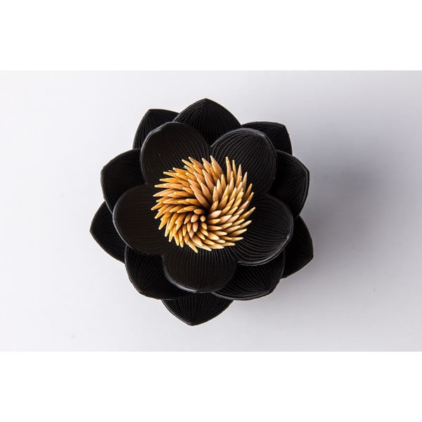 Stojánek na párátka QUALY Lotus Toothpick, černý-černý