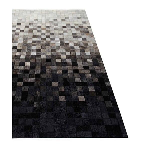 Koberec z pravé kůže Sao Paulo Black, 70x140 cm