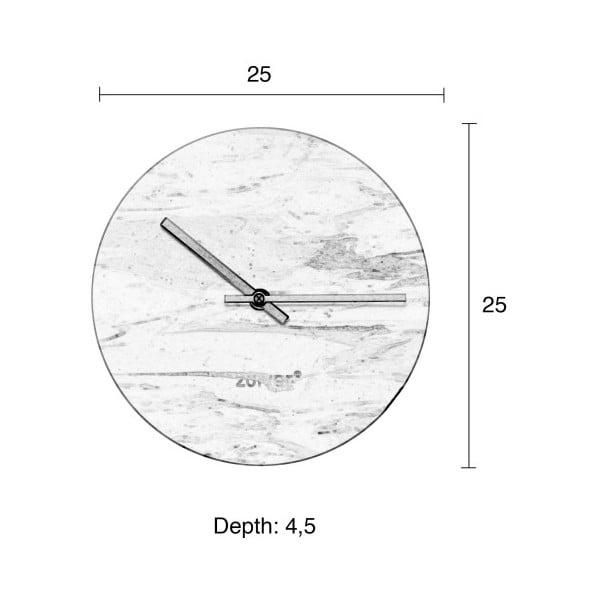 Bílé nástěnné mramorové hodiny Zuiver Marble Time