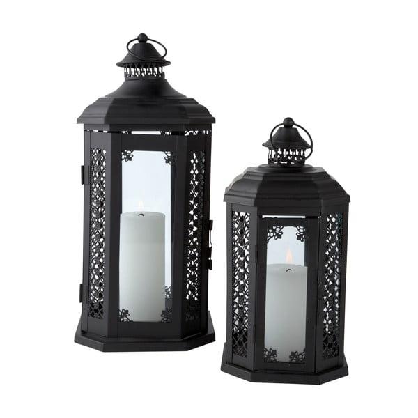 Sada kovových luceren, černé, 2 ks