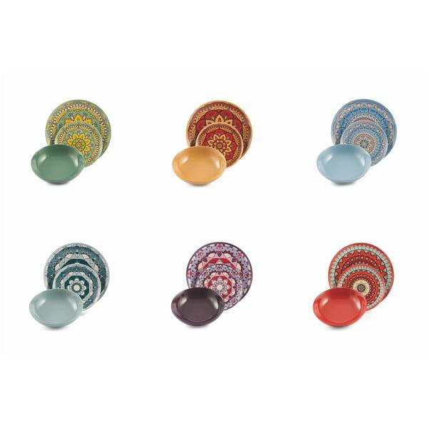 18-częściowy komplet kolorowych naczyń z porcelany i kamionki Villa d'Este Mykonos Saona