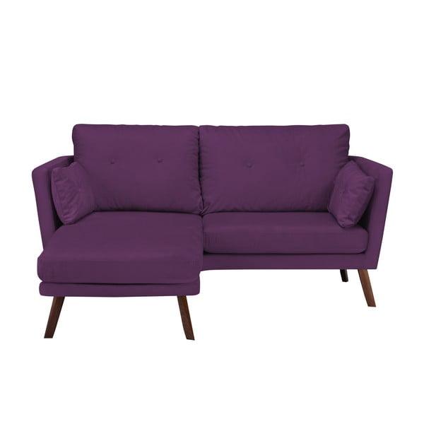 Canapea cu 3 locuri Mazzini Sofas Elena, cu șezlong pe partea stângă, mov închis