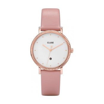 Ceas damă, curea din piele Cluse Le Couronnement, roz imagine