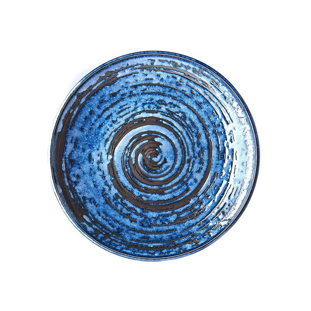 Modrý keramický talíř MIJ Copper Swirl, ø25 cm