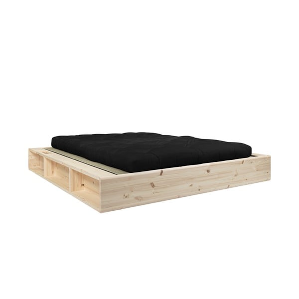 Pat dublu din lemn masiv cu futon negru Comfort și tatami Karup Design, 180x200cm