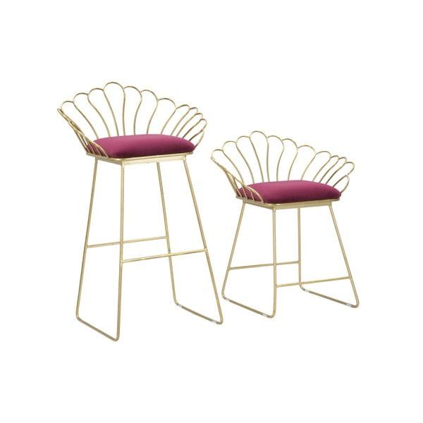 Set 2 scaune bar Mauro Ferretti Flower, auriu-roșu
