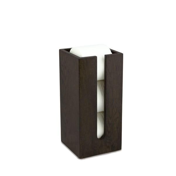 Pojemnik na papier toaletowy z drewna dębowego Wireworks Mezza Dark