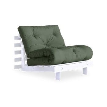 Fotoliu extensibil Karup Design Roots White, verde