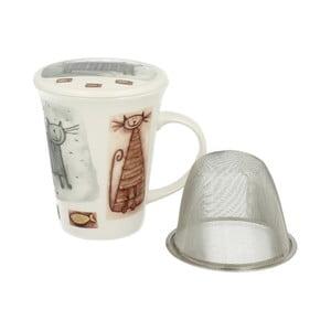Porcelánový hrnek s filtrem s motivem kočky Duo Gift, 250 ml