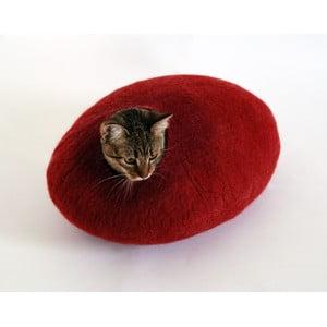 Plstěný pelíšek pro kočku Ulita red
