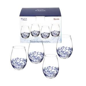 Sada 4 bílomodrých skleněných sklenic na víno bez nohy Spode Blue Italian, 570 ml