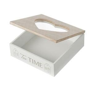 Bílý box ze dřeva se skleněným víkem Unimasa, 20 x 7 cm