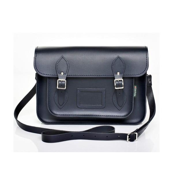 Kožená kabelka Satchel 33 cm, tmavě modrá