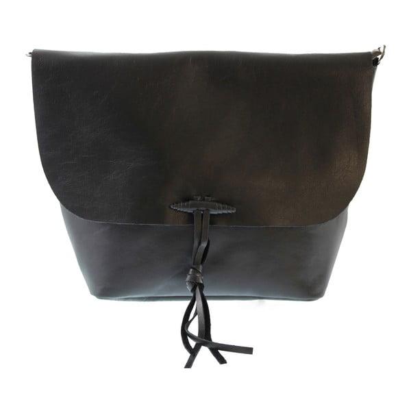 Černá dámská kožená taška přes rameno Chicca Borse Ragida