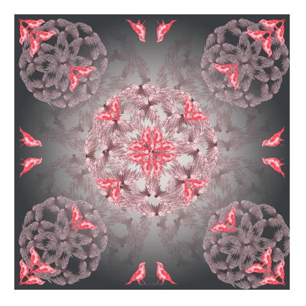 Hedvábný šátek Birdy Pink, 130x130 cm