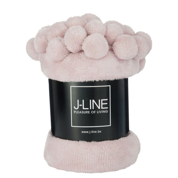 Růžový pléd J-Line Pom-Pom