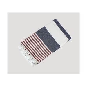 Modro-červeno-bílá ručně tkaná osuška z prémiové bavlny Homemania Turkish Hammam, 90 x 180 cm