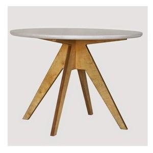 Jídelní stůl s hnědým podnožím a bílou deskou Radis Edi, průměr105cm