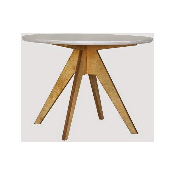 Masă dining cu bază maro Radis Edi, diametru 105 cm, blat alb