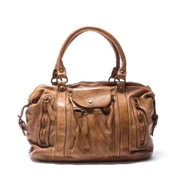 Kožená kabelka Mangotti 0001, koňak