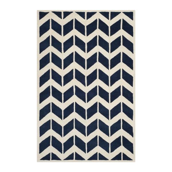Vlněný koberec Brenna 121x182 cm, tmavě modrý
