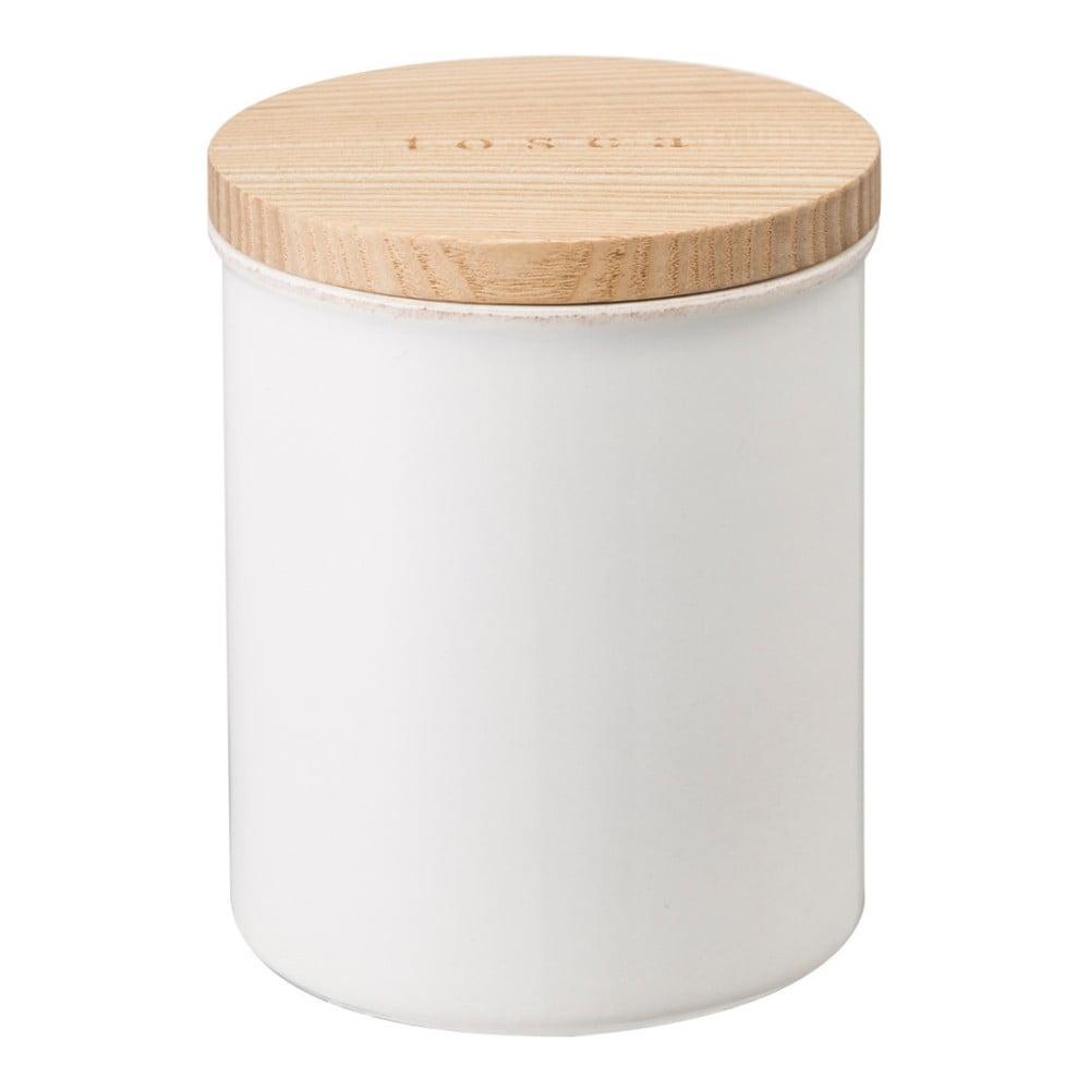 Bílá dóza s bambusovým víčkem YAMAZAKI Tosca, ø 9,5 cm