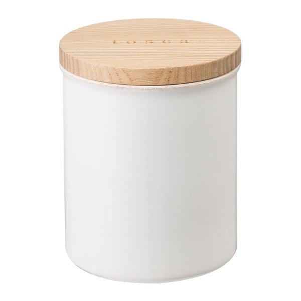 Biały pojemnik z pokrywką bambusową YAMAZAKI Tosca