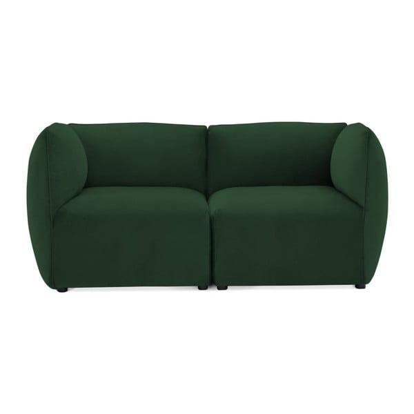 Emeraldově zelená dvoumístná modulová pohovka Vivonita Velvet Cube